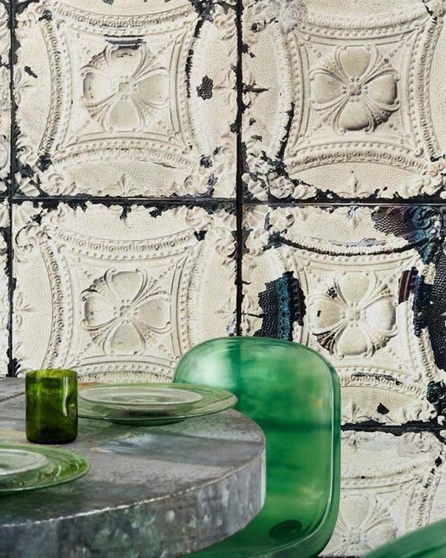 vliestapeten design schabby chic optik kacheln brooklyn tins Ab - wohnzimmer tapete grun