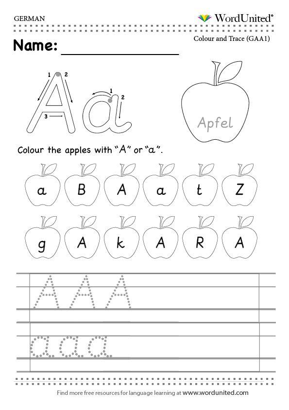read and write the german alphabet wordunited free worksheet mfl german alphabet a apfel. Black Bedroom Furniture Sets. Home Design Ideas