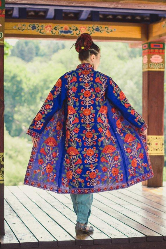 Royal blue Bohemian jacket,Kashmiri jacket,Embroidery jacket,Silk jacket Size /'/' XL /'/'