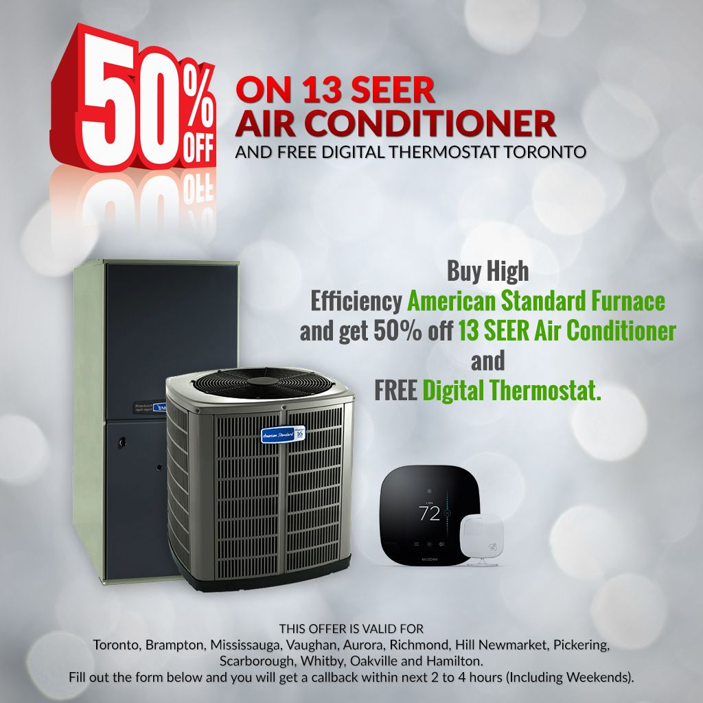 Get 50 OFF on 13 SEER Air Conditioner and FREE Digital