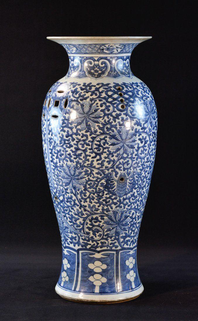 Chinese Blue White Porcelain Vase Shaped Planter 19th Cen Measures