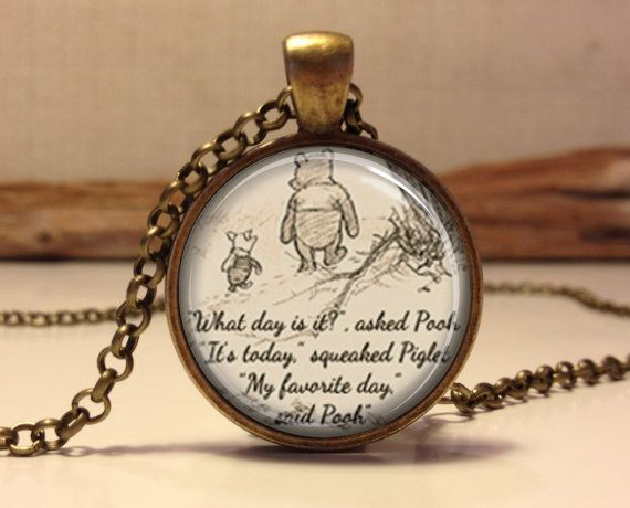 Winnie the pooh quote necklace inspirational quote jewelry winnie the pooh quote necklace inspirational words pendant pooh bear pendant what day is aloadofball Images