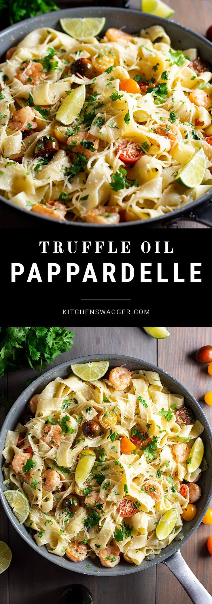 Pappardelle Pasta With Creamy Truffle Oil And Shrimp Recipe Recipe Pappardelle Pasta Pappardelle Recipe Pasta Dishes