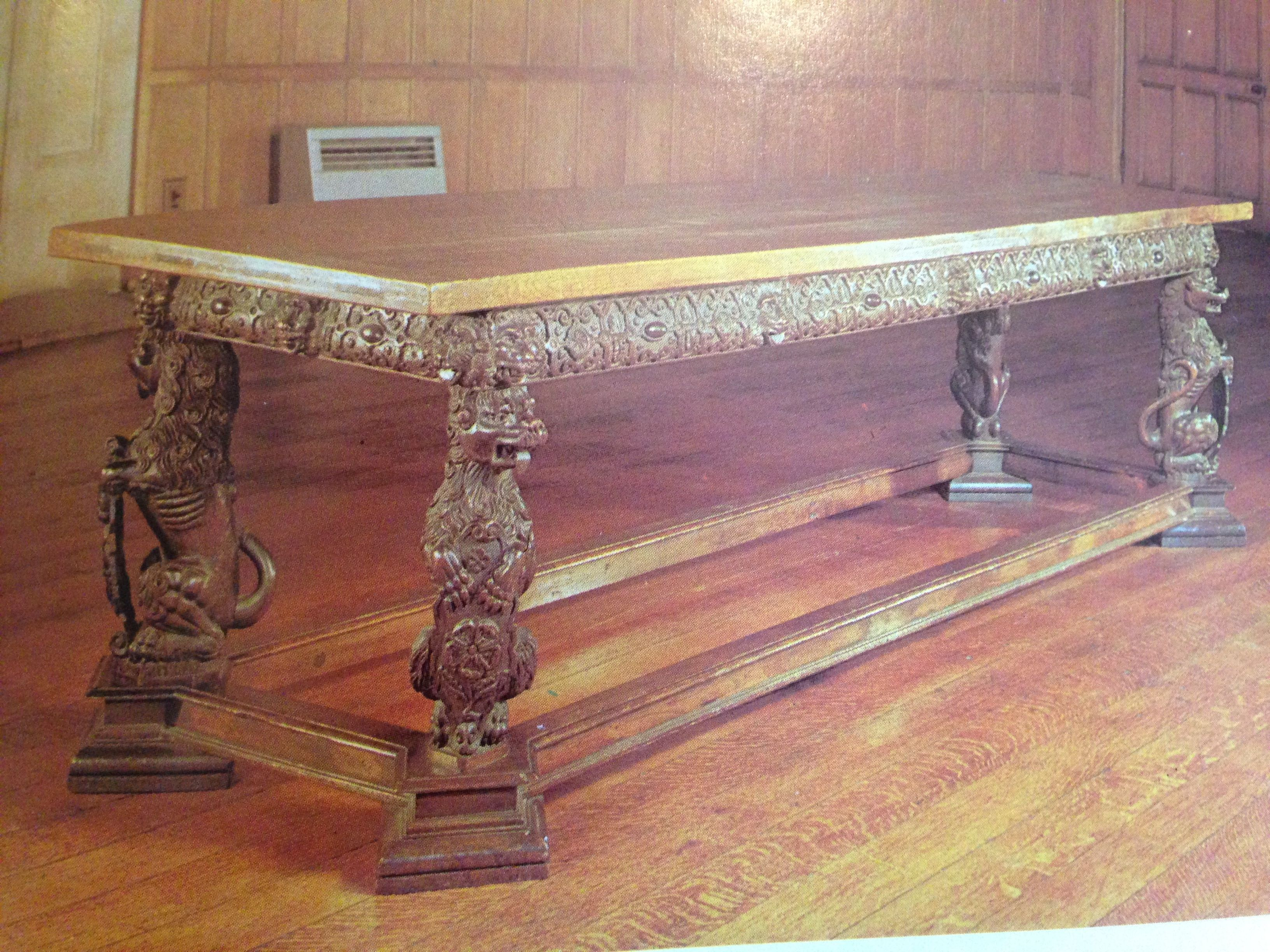 Exeter Elizabethan table of the highest quality, made for an important client of stature, the frieze rail carved with the classic Exeter strap work