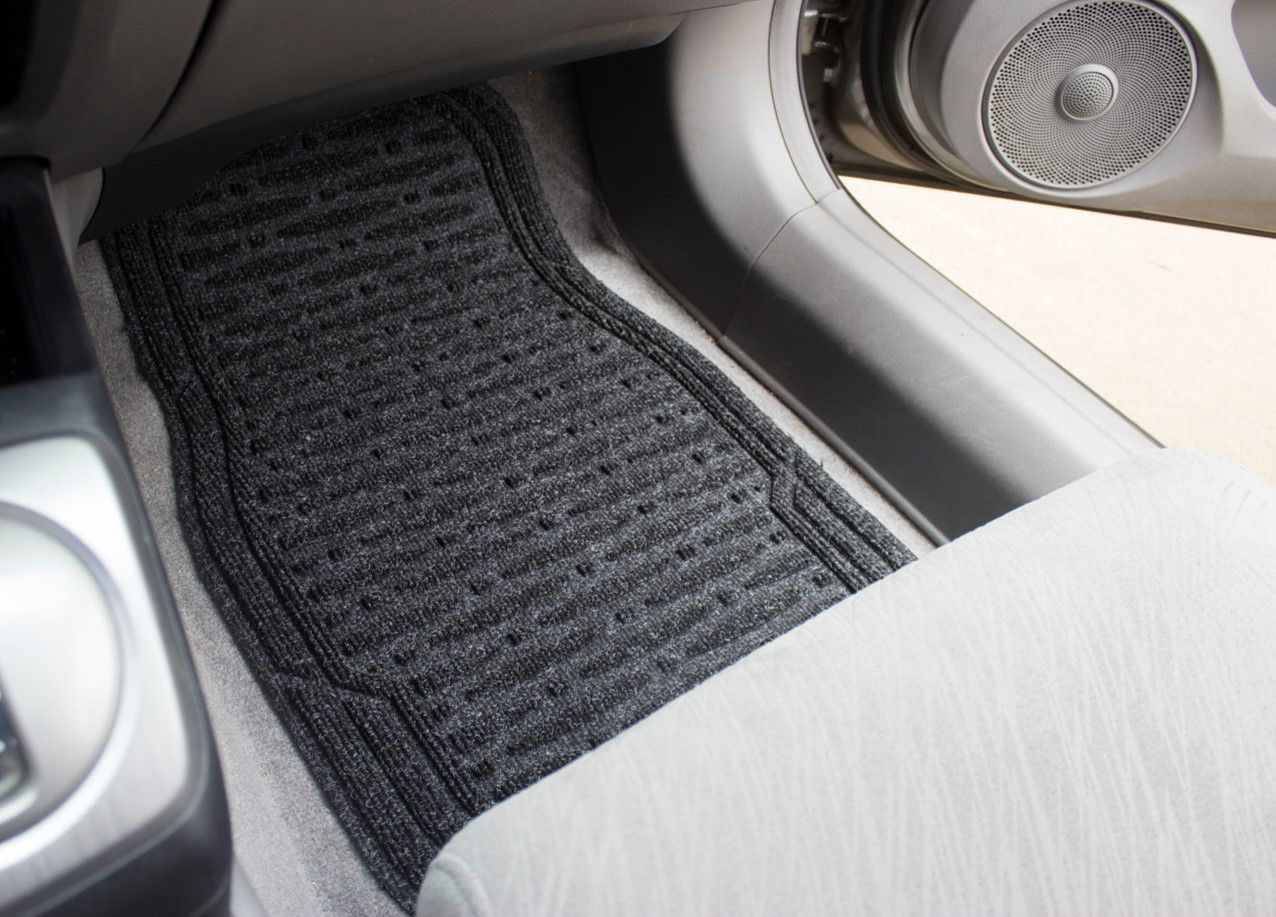Choose To Match Your Vehicle S Interior Or Create A Sharp Contrast Like This Waterhog Car Mat In Charcoal Color On Grey I Car Mats Charcoal Color Gray Interior
