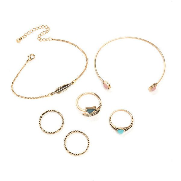 MULTI Boho Belle Ring 'N Bracelet Set ($9.94) ❤ liked on Polyvore featuring jewelry, bracelets, multi, feather bangle, adjustable bangle, imitation jewelry, boho chic jewelry and triangle jewelry