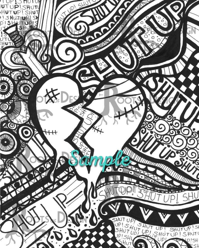 Instant Download Coloring Page Broken Heart Etsy In 2020 Heart Coloring Pages Love Coloring Pages Valentine Coloring Pages