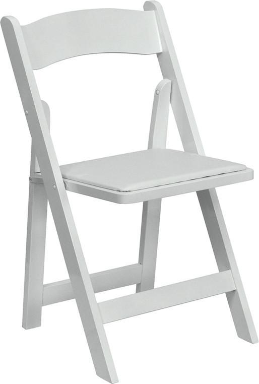 Hercules Series White Wood Folding Chair With Vinyl Padded Seat Xf