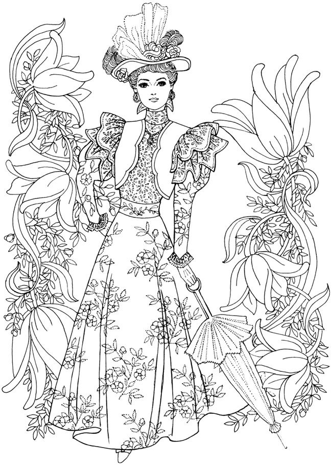 Welcome To Dover Publications Creative Haven Art Nouveau Fashions Coloring Book 1 4