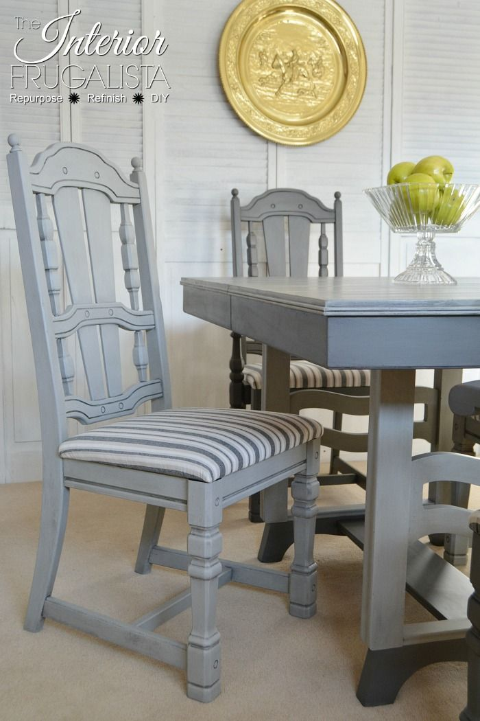 Painted Dining Room Set Dry Brushed Two Tone Gray Striped Upholstery Fabric And Chairs