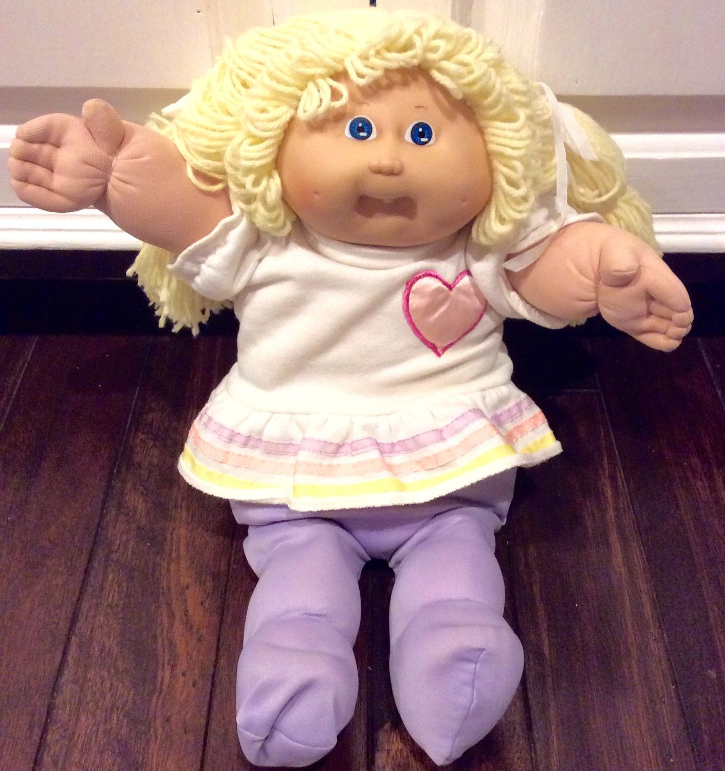 1985 Cabbage Patch Kid One Tooth Blonde Haired Doll Coleco Etsy Cabbage Patch Kids Cabbage Patch Dolls Cabbage Patch