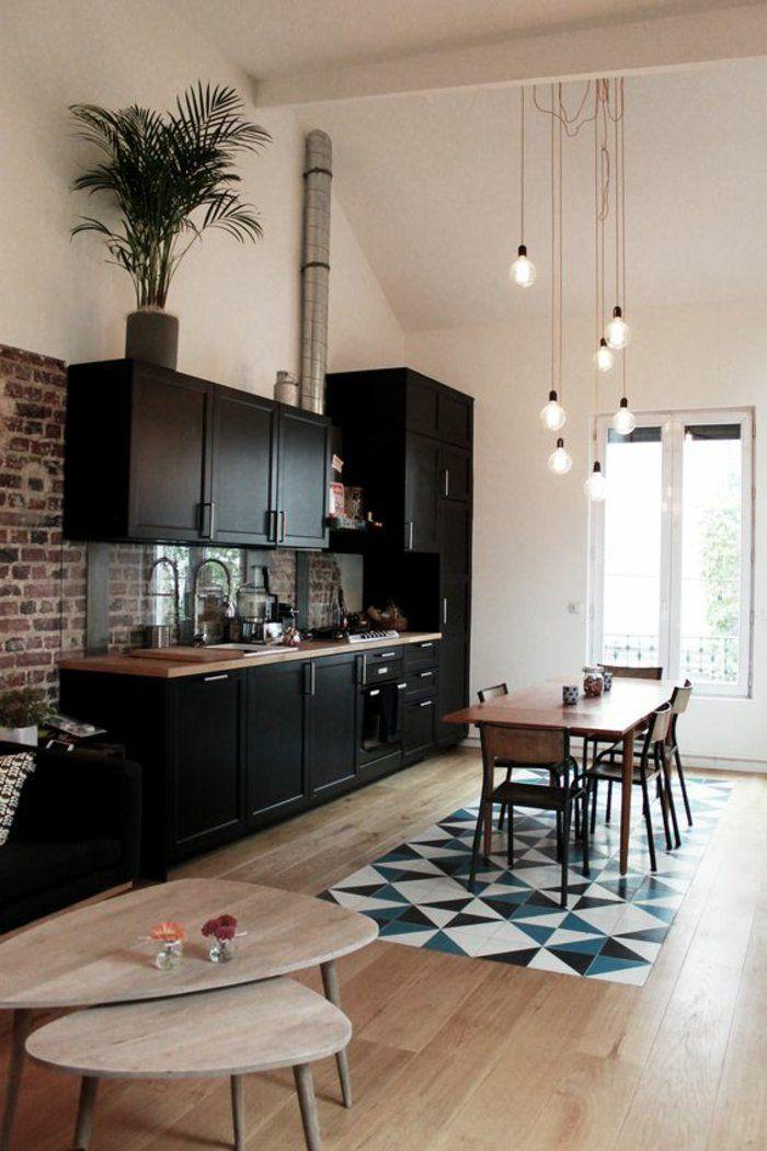 idee deco pas cher appartement sol en parquet clair mosaique blanc noir