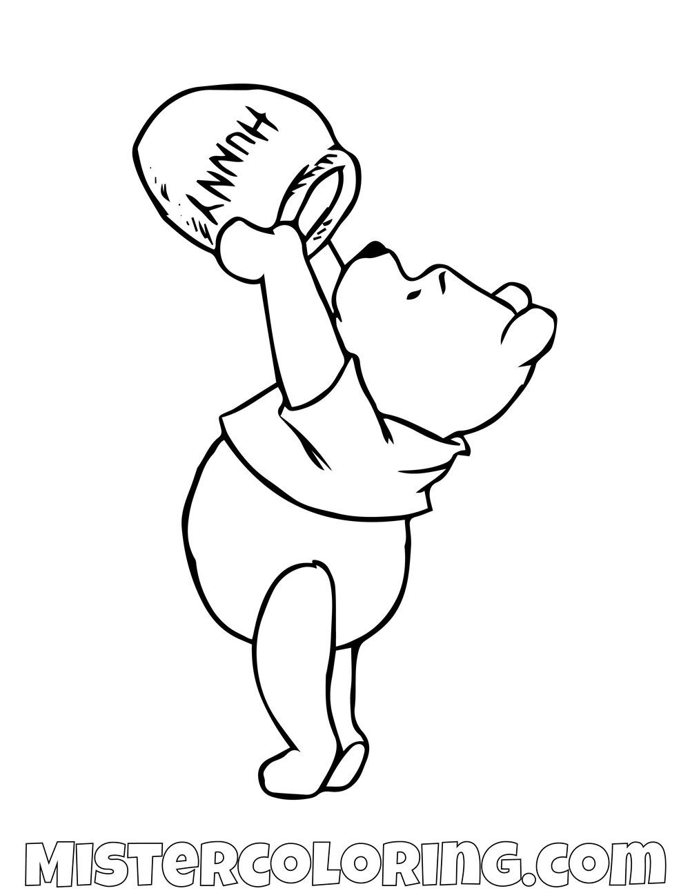 Winnie The Pooh Checking Honey Pot Coloring Page Bear Coloring