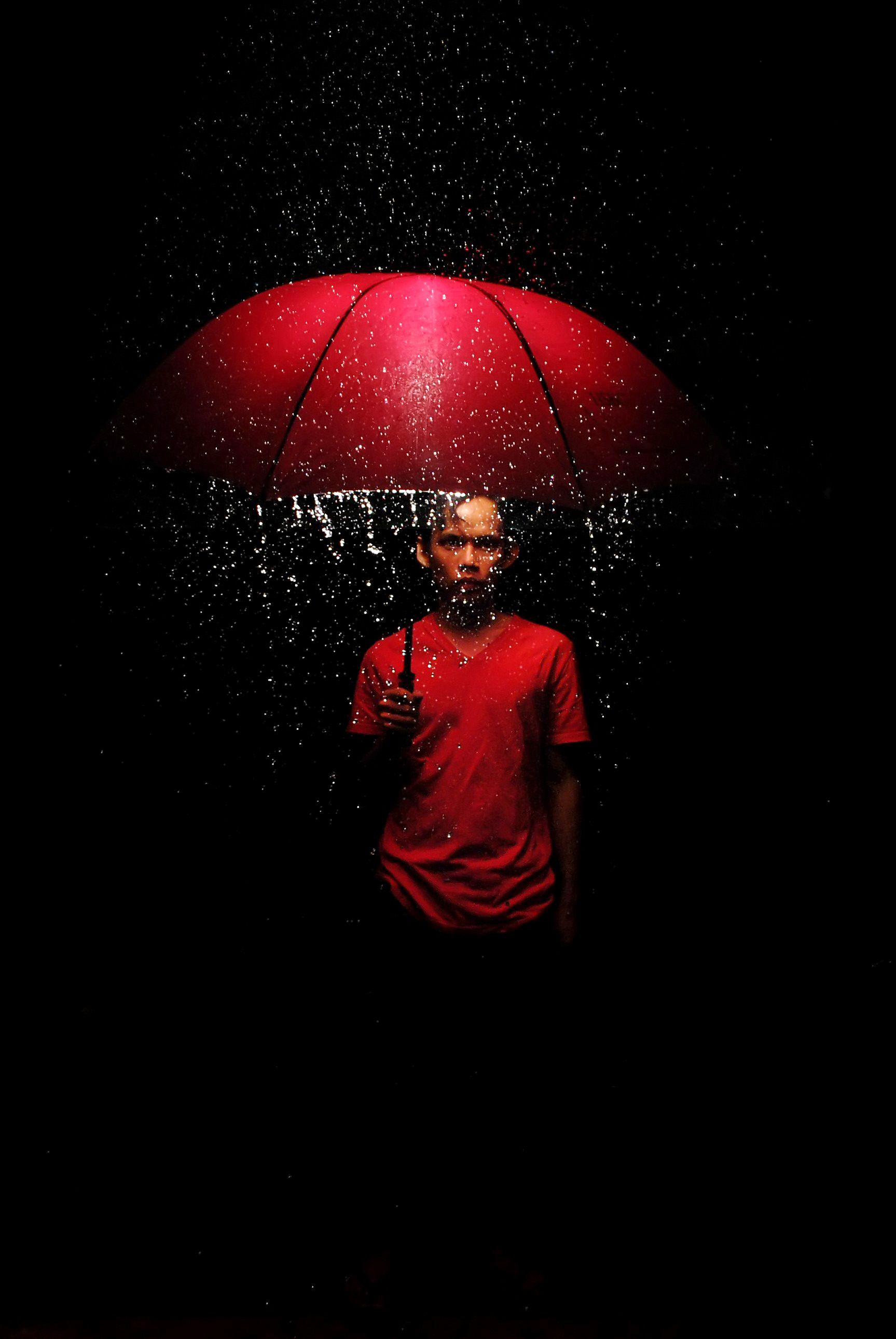 Amazing Lighting For Rain Photography, Red Umbrella