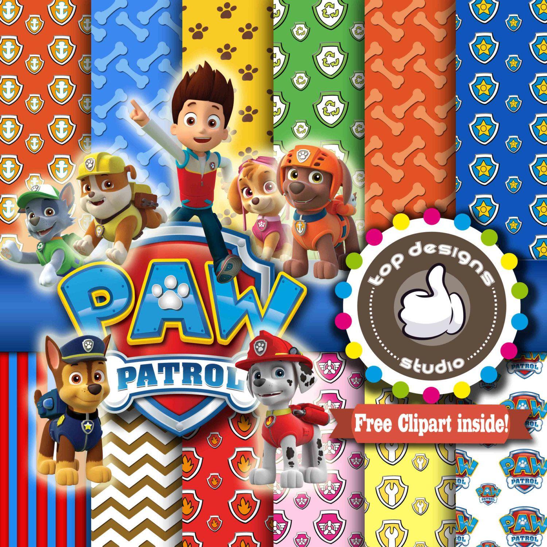 Scrapbook paperchase - Paw Patrol Digital Paper Paw Patrol Digital Paper Paw Patrol Clipart