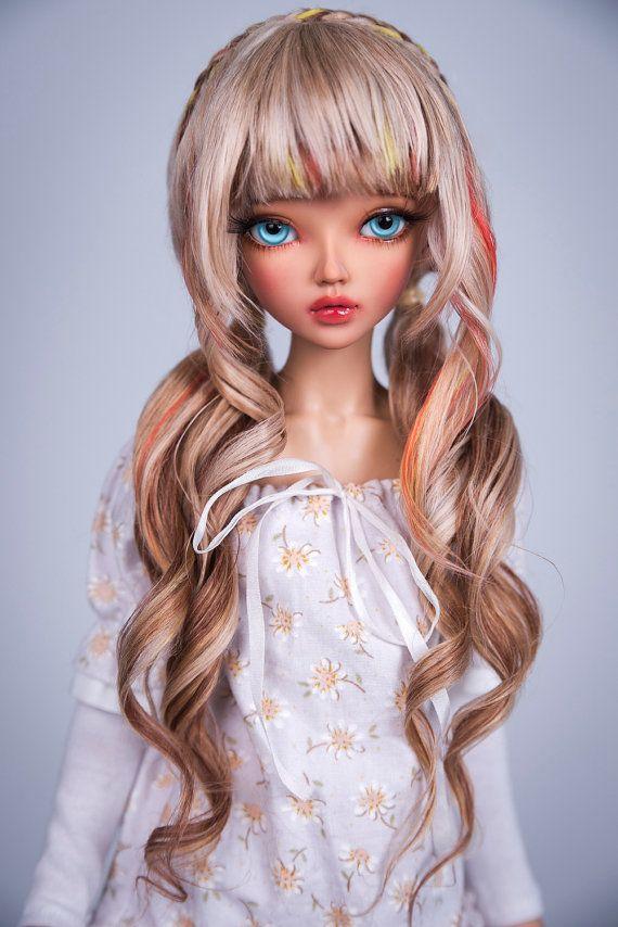 Summer curls (natural alpaca wig for bjd SD, MSD)
