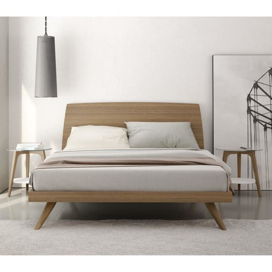 Bedroom modern mid century natural color walnut king size for King size bed designs