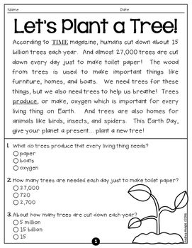 earth day 5 short nonfiction passages with comprehension questions. Black Bedroom Furniture Sets. Home Design Ideas