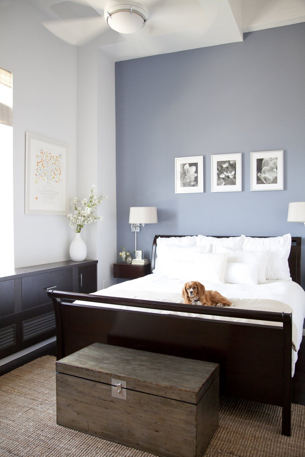 Dark paint ideas for bedroom  great example of how a dark bed can still make a bedroom look light