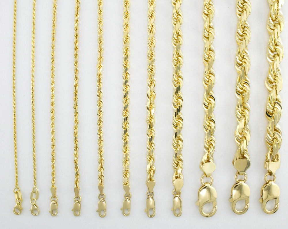 14k Yellow Gold Solid Rope Chain Necklace Bracelet 1mm 10mm Mens Women 7 30 Chain Link Bracelet Chains Necklace Bracelets For Men