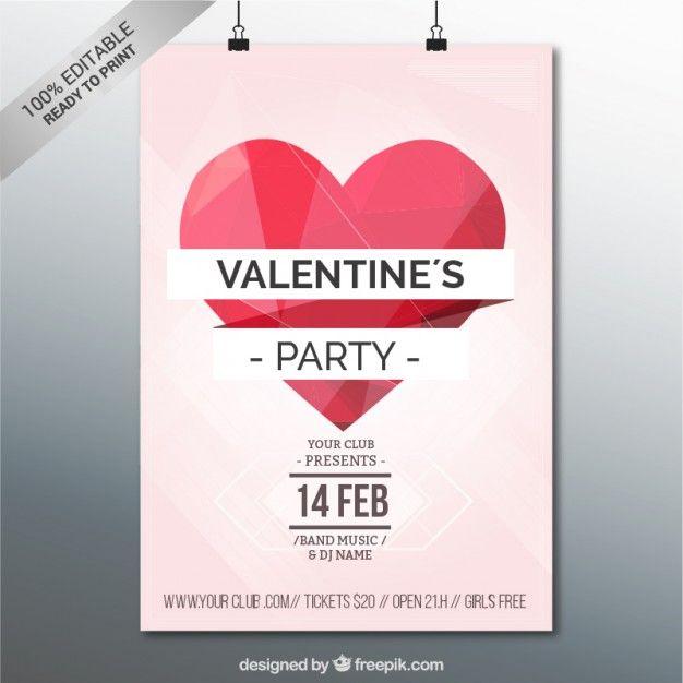 Plantilla de cartel de fiesta de San Valentín. Vector gratis ...