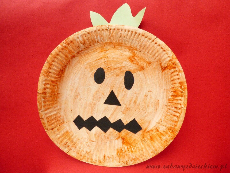 Halloweenowa dynia z papierowego talerzyka (With images