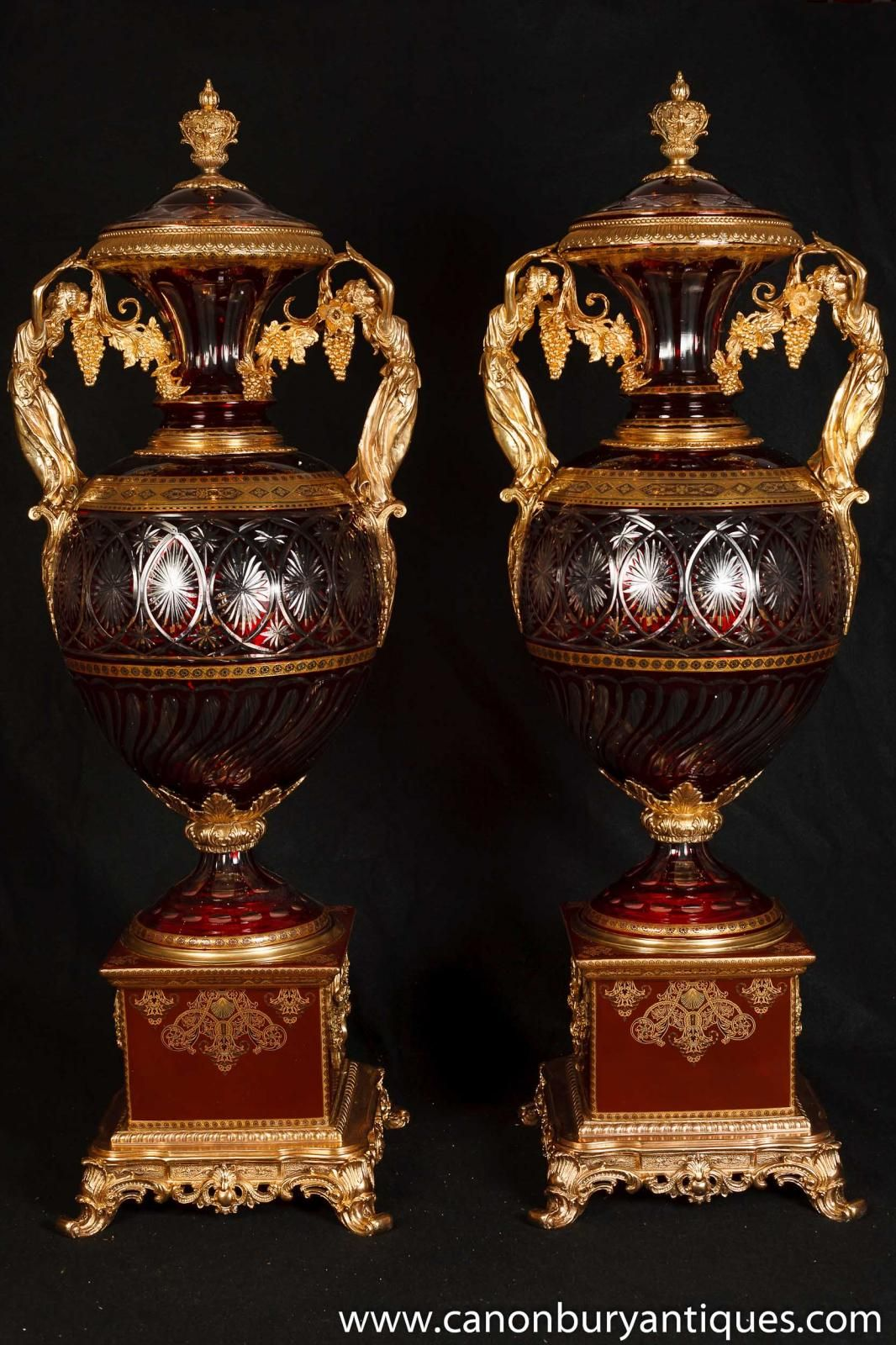 Photo of pair xl french empire porcelain glass urns vases ormolu photo of pair xl french empire porcelain glass urns vases ormolu maidens reviewsmspy