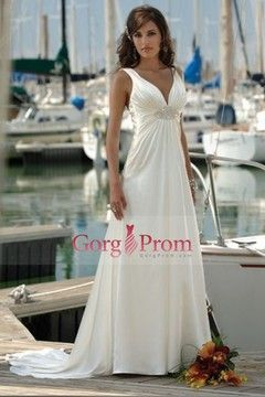 Glamorous A Line V Neck Summer/Beach Wedding Dresses $187 70