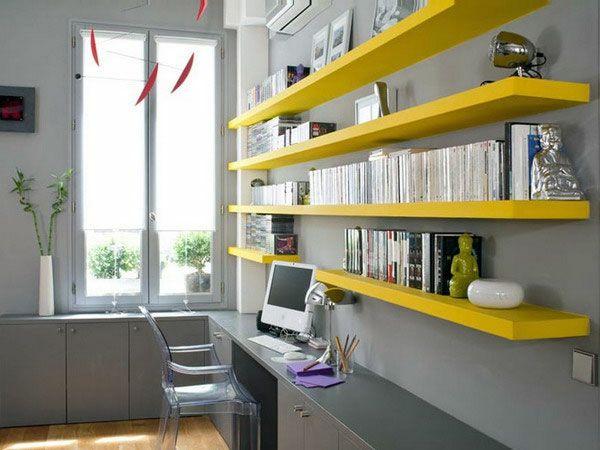 Deco bureau jaune et gris angle noir rouge chaude tapis gris