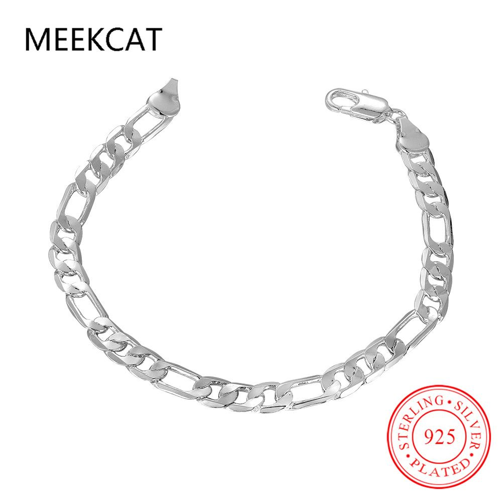Classic silver plated male punk bracelet mens jewelry inch chain