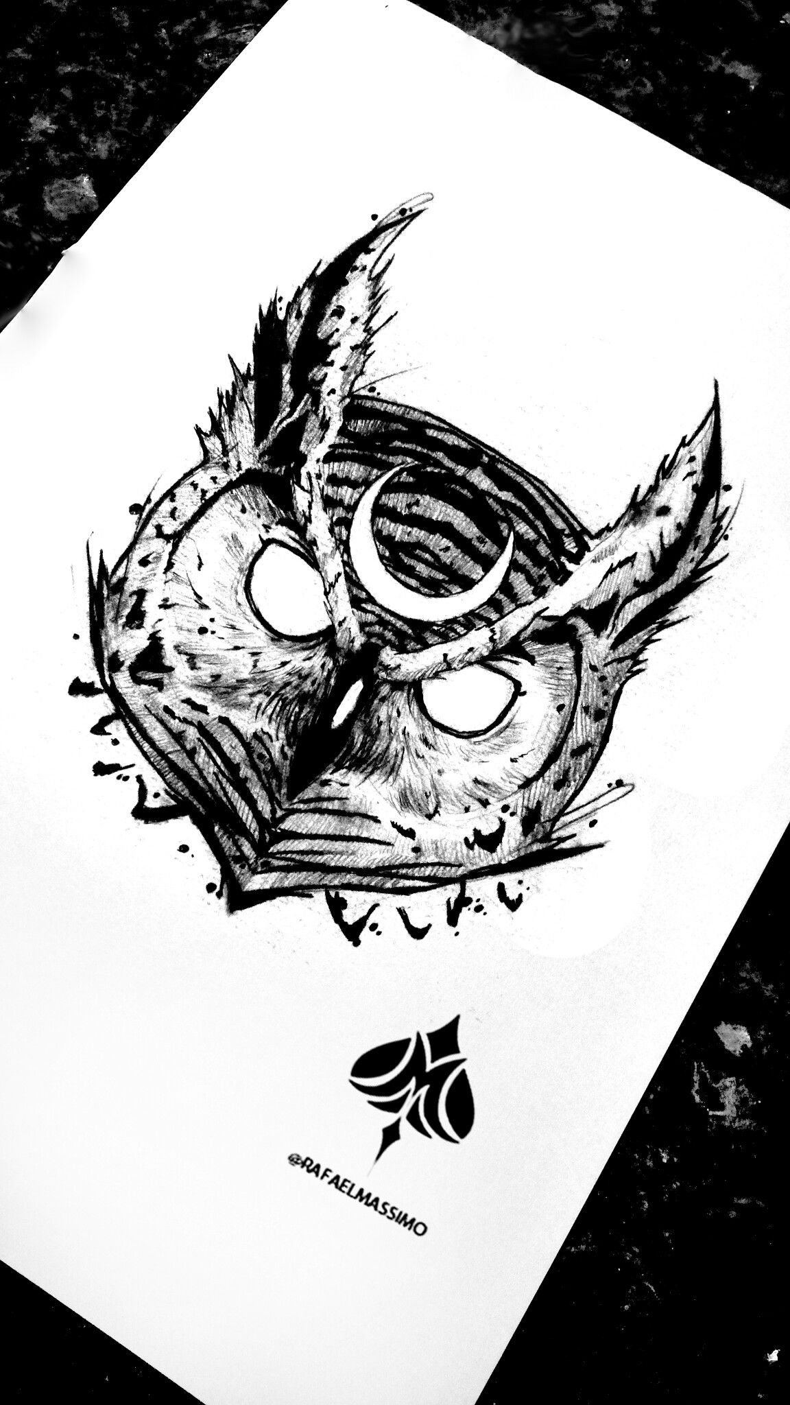 Blackwork Moon Owl By Rafaelmassimo Owl Blackwork Desenhos De