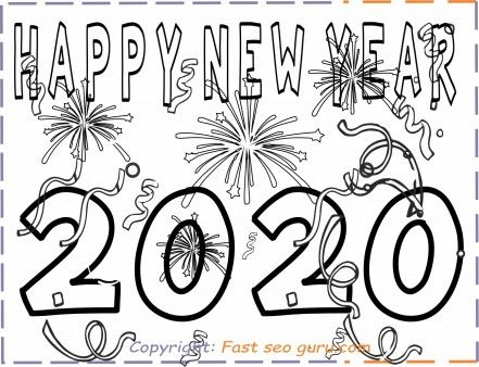 Printable happy new year 2020 coloring pages for kids