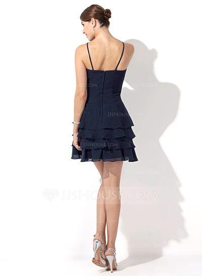 A-Line/Princess V-neck Short/Mini Chiffon Bridesmaid Dress With Flower(s) (007000915)
