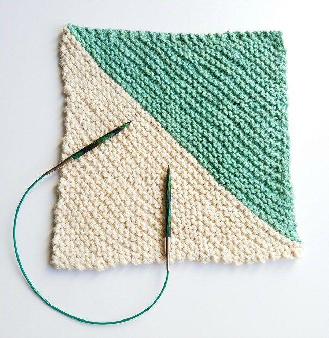 Knitted Dishcloth Pattern Diagonal Dishcloth