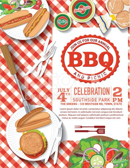 Invitation template Aerial view of a picnic bbq meal on a - picnic flyer template