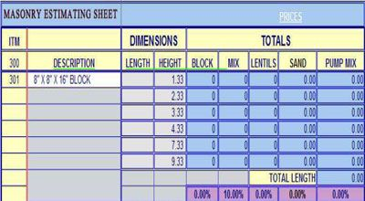 Download Free Masonry Estimating Sheet To Estimate Your Masonry