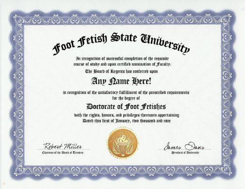 Foot Fetish Degree Custom Gag Diploma Doctorate -2011