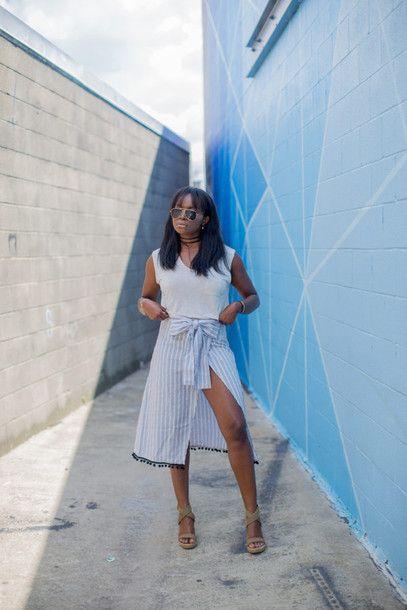 T-shirt: millennielle blogger skirt shoes summer dress summer top midi skirt slit skirt wrap skirt