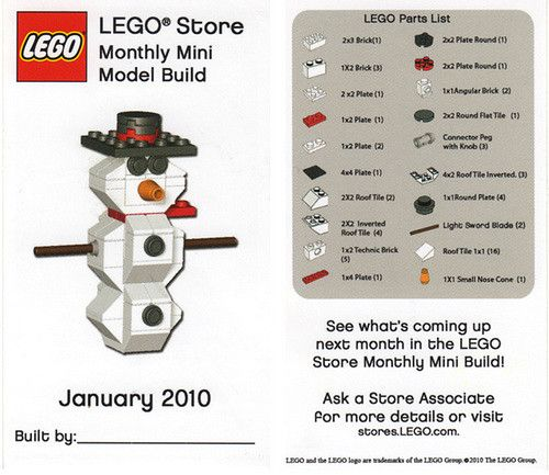 LEGO Store Monthly Mini Model Build - January 2010 (Snowman)