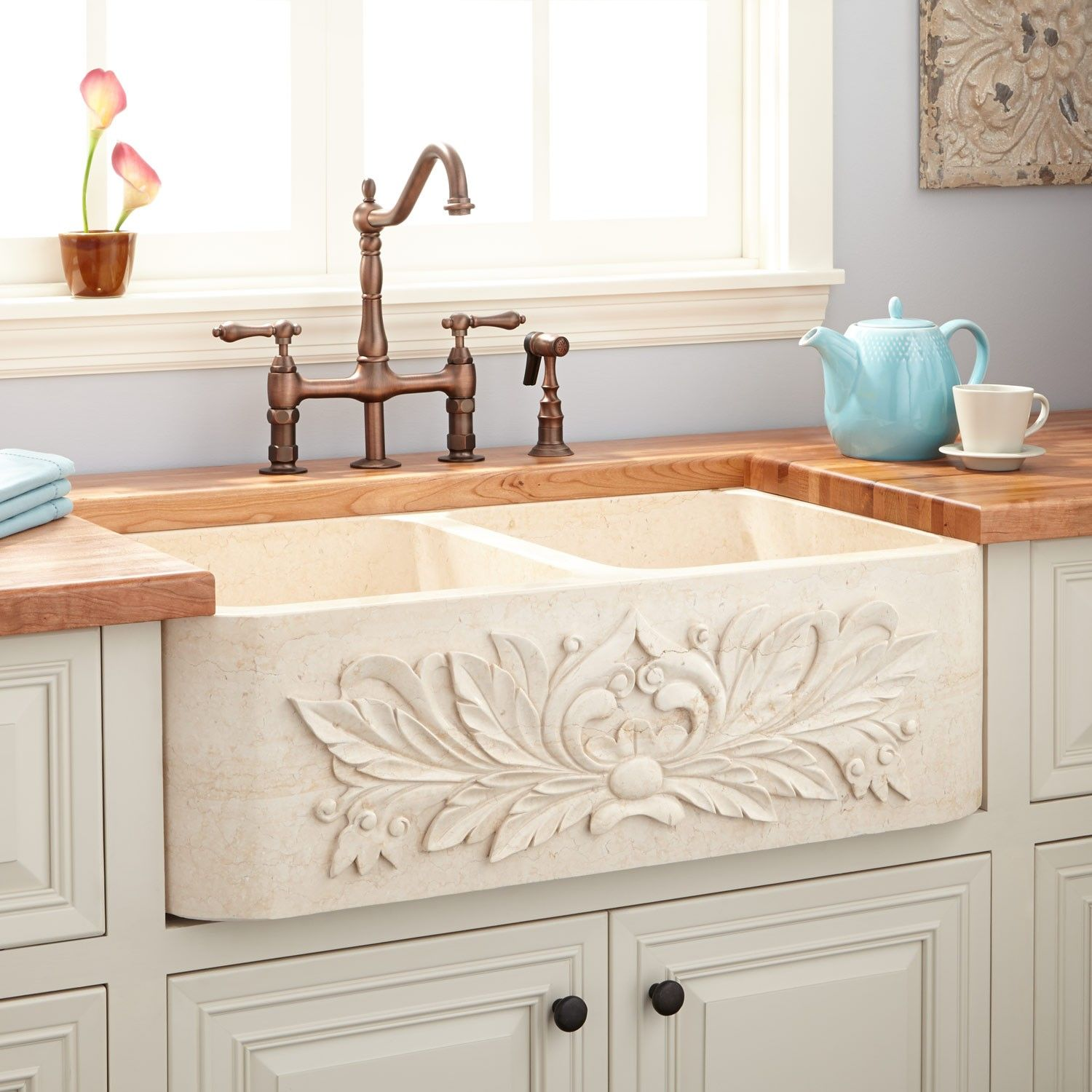 36 Ivy Polished Marble Double Bowl Farmhouse Sink In Cream Egyptian Signature Hardware Kitchen Sink Decor Farmhouse Sink Kitchen Modern Farmhouse Kitchens