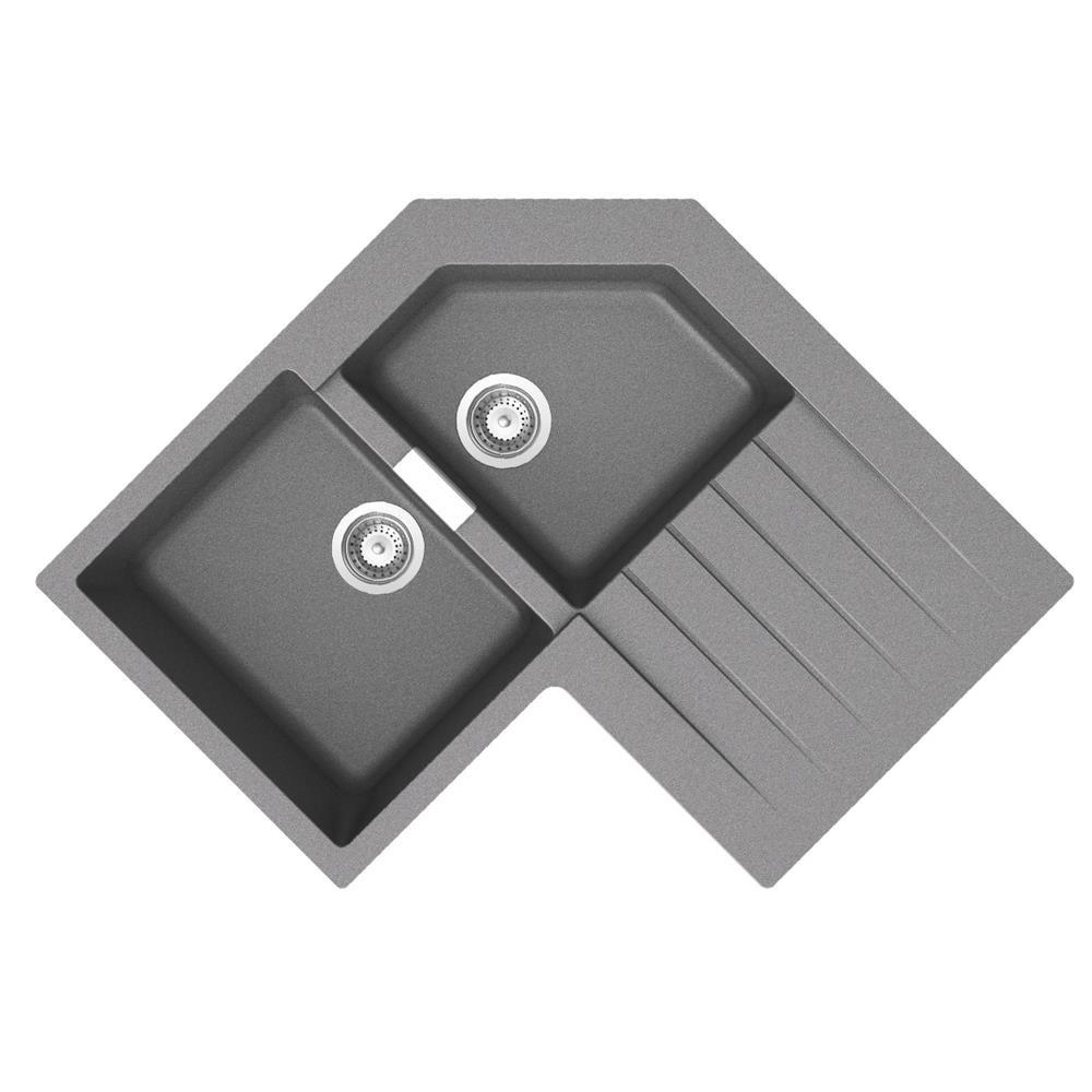 Évier D´angle Granit Gris Schock LOKTI 2 Bacs 1 égouttoir   Cuisissimo