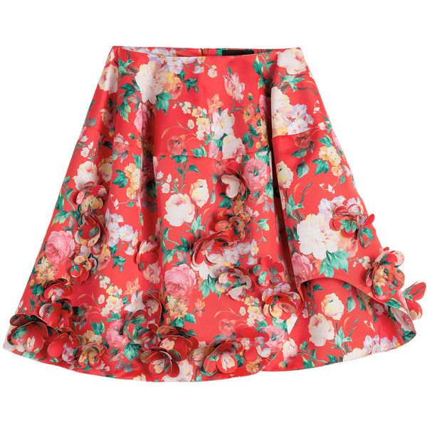 Simone Rocha Mad Flower Printed Skirt (7.618.345 IDR) ❤ liked on Polyvore featuring skirts, florals, floral print a-line skirt, floral skirt, red skirt, flower skirt and red knee length skirt