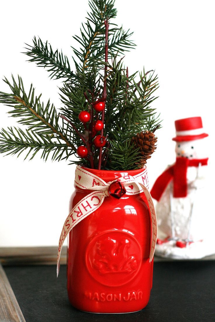 scented vintage christmas mason jar pinecone branchjpg more - Simple Christmas Centerpieces