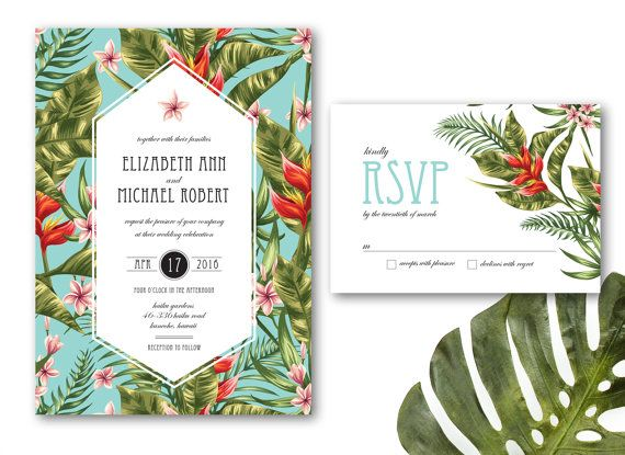 Delightful Printable  Tropical Wedding Invitation DIY, Printable Wedding Invitation,  Tropical Flowers, Palm Leaves