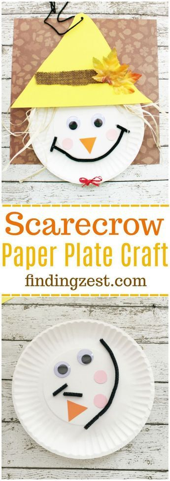 Scarecrow Paper Plate Craft for Thanksgiving or fall! This kid craft is perfect for preschool  sc 1 st  Pinterest & Scarecrow Paper Plate Craft for Thanksgiving | Paper plate crafts ...