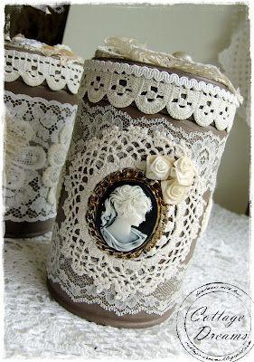 Mason Jar With Lace And Portrait Shabby Chic Barattoli