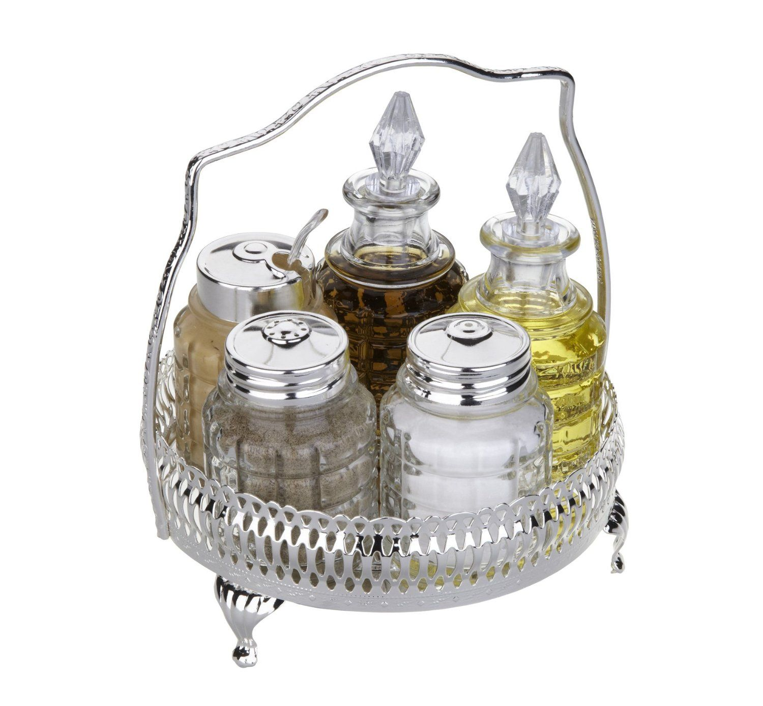 Cruet Set British with special finish that never needs Silver polishing includes salt pepper mustard oil vinegar: Amazon.co.uk: Kitchen & Home