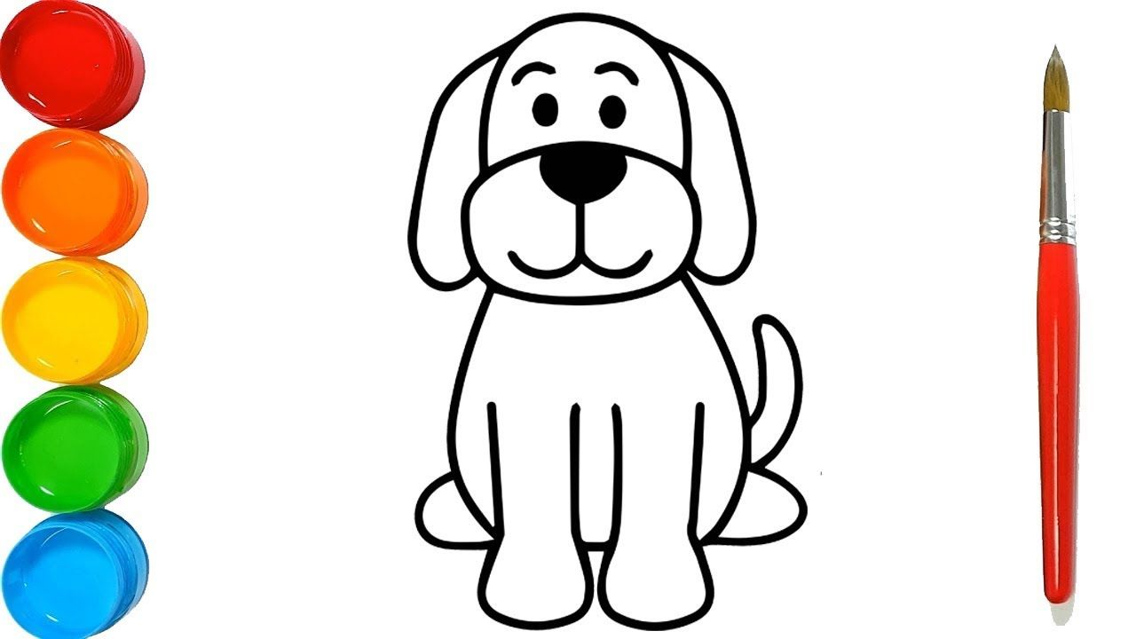 How to Draw a Dog for kids - Drawing For Kids - Cloluring ...