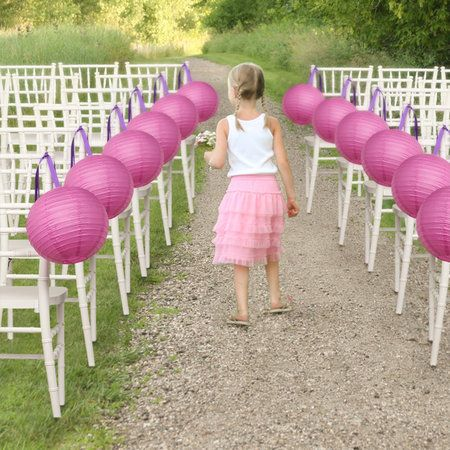 Captivating Pink Paper Lanterns Become Adorable Pieces Of Chair Décor When Hung With  Bright Purple Satin Ribbon