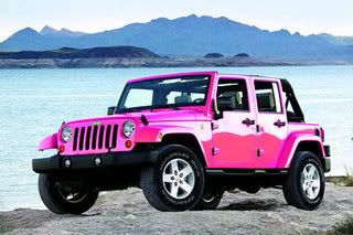 Pink Jeep Wrangler.....Hmmm maybe I can paint my husband's jeep like this?! haha